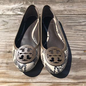 Tory Burch Embossed Snakeskin Flats 7